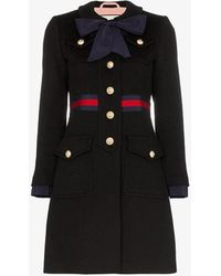 Gucci Bow-detailed Wool Coat - Blue