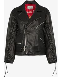 Gucci Leather Jacket With Mushrooms - Black