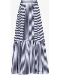 Plan C Striped Tiered Cotton Maxi Skirt - Blue
