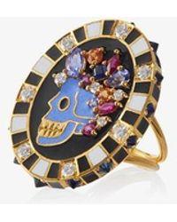 Holly Dyment Diamond Memento Mori Skull Ring - Metallic