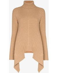 Alexander McQueen Asymmetric Turtleneck Wool Jumper - Multicolour