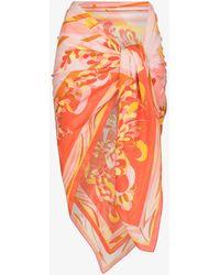 Emilio Pucci Lily Print Wrap Sarong - Pink