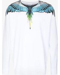 Marcelo Burlon Wings Print Long Sleeve Cotton T-shirt - White
