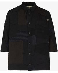 By Walid Nael City Patchwork Wool Shirt - Black