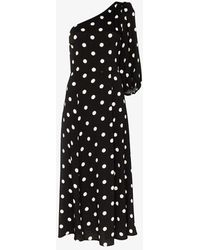 Reformation Lawrence One Sleeve Polka Dot Midi Dress - Black