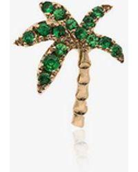 Yvonne Léon 18k Yellow Gold And Emerald Palm Tree Single Earring - Metallic