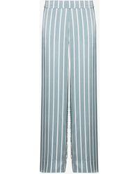 Asceno London Striped Silk Pajama Bottoms - Blue