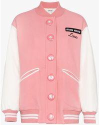 Miu Miu - Oversized Love Embroidered Virgin Wool Bomber Jacket - Lyst