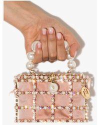 Rosantica Holli Crystal Mini Bag - - Brass/crystal/fabric - Pink
