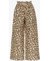Shrimps Libra Leopard Print Silk Pants - Brown