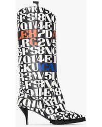 Sacai Multicoloured Text Print 60 Western Boots - White