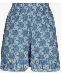 By Walid Evelyn Ruffled Floral Shorts - Black