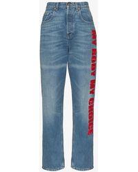 Gucci My Body My Choice Straight Leg Jeans - Blue
