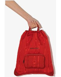 Marine Serre X Browns Drawstring Logo Backpack - Red