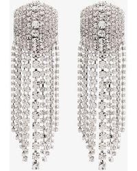 Alessandra Rich Square Cascade Crystal Earrings - Metallic