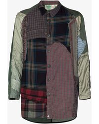 By Walid Miles Patchwork Checked Shirt - Green
