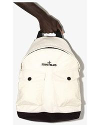 Stone Island White Reflective Ripstop Chiné Backpack