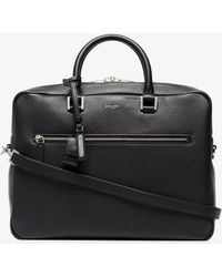 Saint Laurent - Black Logo Print Pebbled Leather Briefcase - Lyst