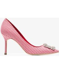 Manolo Blahnik - White And Red Hangisi 90 Gingham Cotton Pumps - Lyst