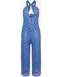 Cloe Cassandro Ruby Halterneck Silk Jumpsuit - Blue