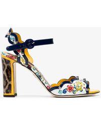 Dolce & Gabbana Leopard Keira Majolica 95 Leather Sandals - White