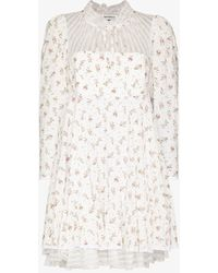 Masterpeace Floral Ruffled Neck Dress - White