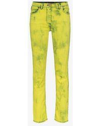 Versace - Acid Wash Logo Label Skinny Jeans - Lyst