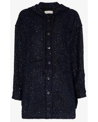 Faith Connexion Hooded Sequin Embellished Tweed Jacket - Blue