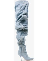 Y. Project Thigh High Ruched Denim Boots - Blue