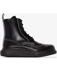Alexander McQueen Black Military Lined Ankle Boots
