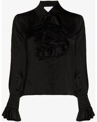 Halpern Ruffled Button-up Blouse - Black
