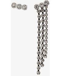 Isabel Marant Silver Tone Crystal Drop Earrings - White