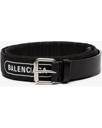 Balenciaga Black And White Logo Print Leather And Cotton Belt