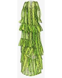 Off-White c/o Virgil Abloh Snake Print Tiered Gown - Green