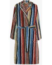 Missoni Adam Hooded Cotton Robe - Blue