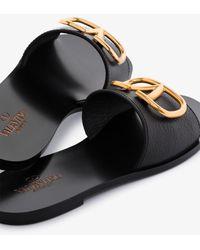 Valentino Garavani Garavani Go Logo Leather Sandals - Black