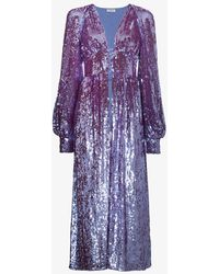 Attico | Long Sleeve Sequin Embellished Robe | Lyst