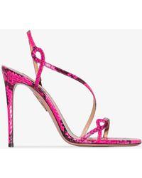 Aquazzura Serpentine Snake-effect Sandals - Pink