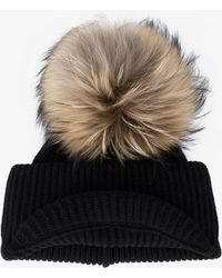 Inverni - Black Ribbed Cashmere Hat With Visor And Fur Pom Pom - Lyst