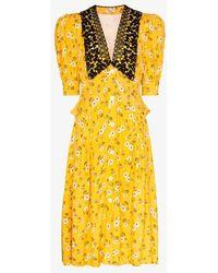 Miu Miu Deep V-neck Lace Collar Puff Sleeve Midi Dress - Yellow