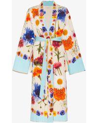 Natasha Zinko - Floral Print Quilted Silk Maxi Robe - Lyst