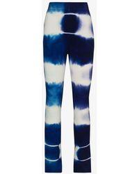 The Elder Statesman Triptych Tie-dye Cashmere Pants - Blue