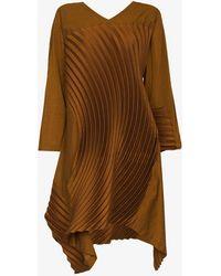 Issey Miyake Cliff Long Pleated Tunic - Orange