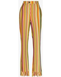 Kenneth Ize Striped Fringed Trousers - Yellow