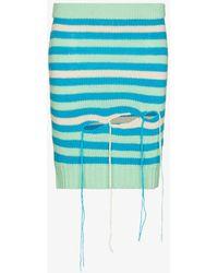 Charles Jeffrey LOVERBOY Slash Striped Mini Skirt - Blue