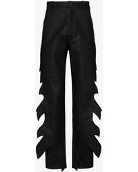 Y. Project Flame Faux Leather Trousers - Black