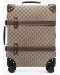Gucci Brown Globetrotter Cotton Leather Suitcase