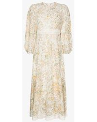 Zimmermann Amelie Floral Broderie Anglaise Cotton Dress - White