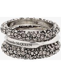 Alexander McQueen Tone Crystal Triple Ring - - Brass - Metallic
