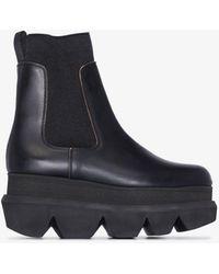 Sacai 85 Flatform Leather Chelsea Boots - Black